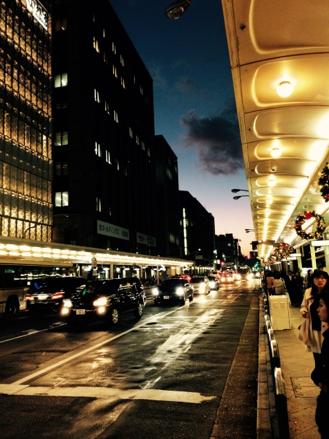 Kyoto Centrem, street at sunset